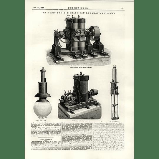 1889 Edison Dynamos And Lamps Alpha Arc