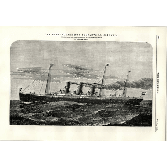 1889 Hamburg American Ss Columbia Illustration