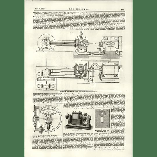 1889 Gramme Self Exciting Alternator Rechniewski Dynamo Lecouter Garnier Engine
