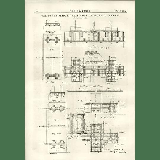 1889 Tower Bridge Steelwork Of Abutment Towers