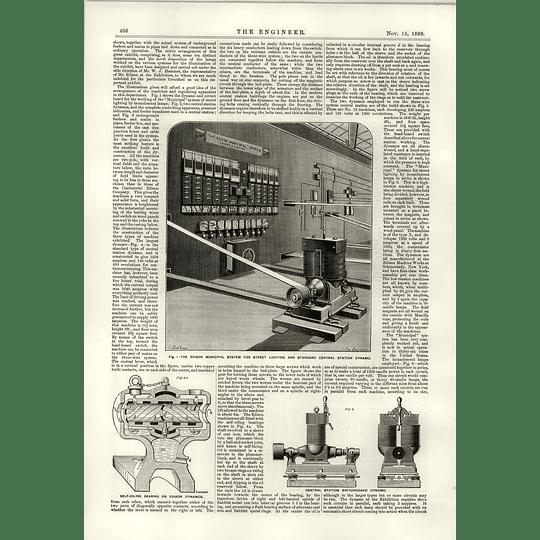 1889 Edison Municipal System For Street Lighting Switchboard Dynamo