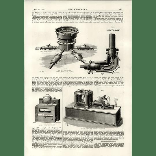 1889 Edison Three Wire System Manhole Feeder Box Pressure Indicator