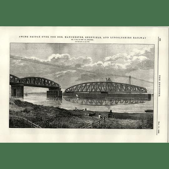 1889 Swing Bridge River Dee Manchester Sheffield Lincs Railway Fox