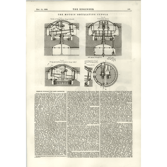 1889 The Mougin Oscillating Cupola Land Defences