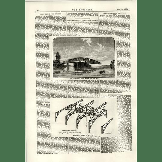 1889 Hawarden Swing Bridge Over The Dee Bracing Of Girders