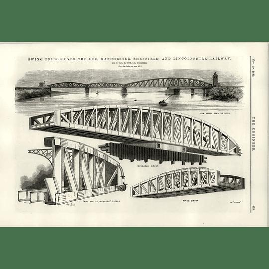1889 F Fox Swing Bridge River Dee Manchester Sheffield Lincs Illustration
