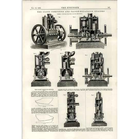 1889 Globe Compound Triple Expension Engine Musgrave Power Transmission