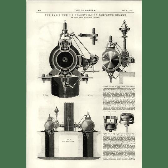 1889 Details Of Sulzer Compound Engine Paris Exhibition