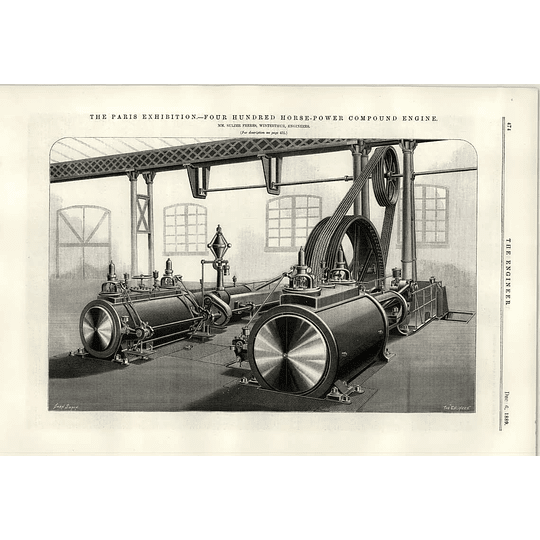 1889 400 Hp Compound Engine Sulzer Winterthur Illustration