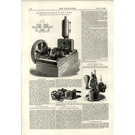 1889 Bartholomew Lamp Cleaning Machine High-pressure Fire Pump High Wycombe