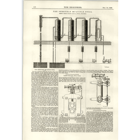 1889 The Berryman Multiple Still Joseph Wright Screw Rolling Mill Grieve