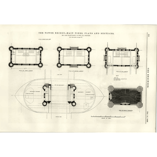 1889 Tower Bridge Main Piers Plans And Sections