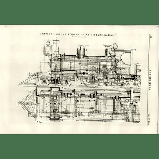 1889 Compound Locomotive Argentine Midland Railway