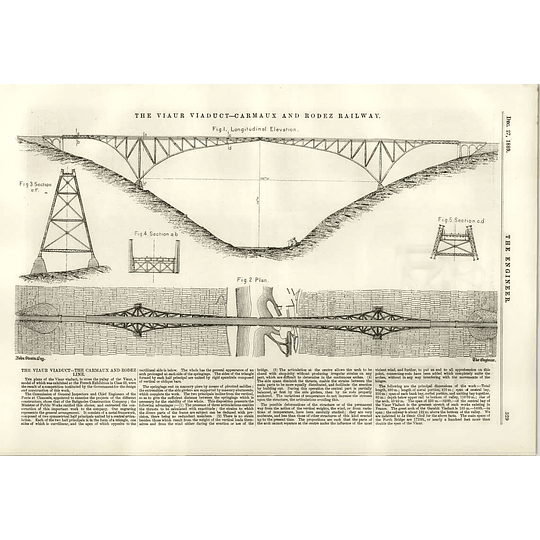 1889 Decorticating Machinery Viaur Viaduct Carmaux Rodez Railway