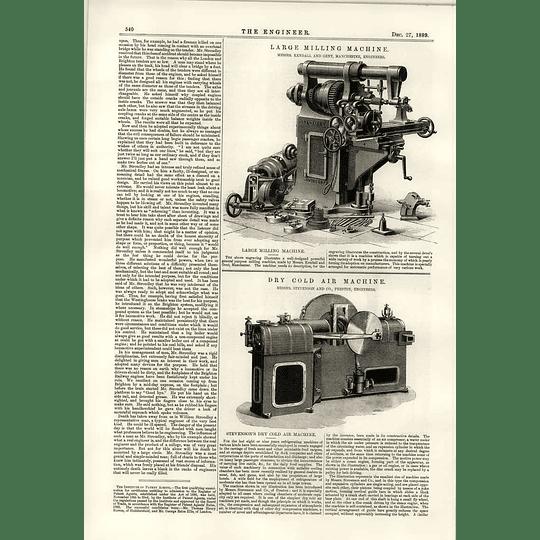 1889 Large Milling Machine Kendall Gent Dry Cold Air Machine Stevenson Preston