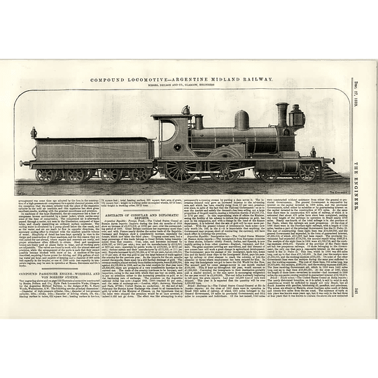 1889 Argentine Midland Railway Compound Locomotive Illustration