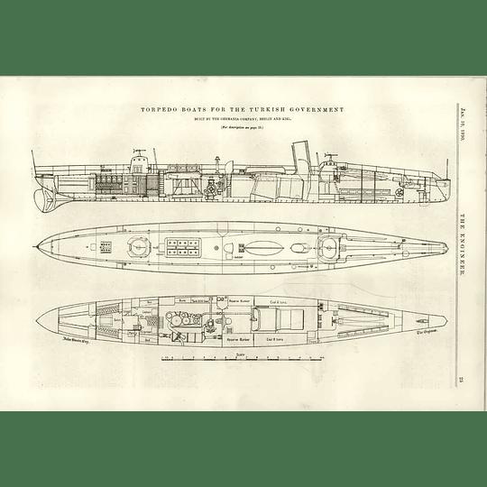 1890 Torpedo Boats For The Turkish Government Germania Kiel Fan Engine