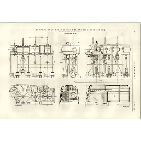1890 Torpedo Boats For The Turkish Government Germania Keel Diagrams