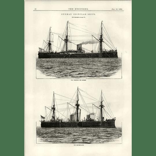 1890 German Ironclad Ships Friedrich Der Grosse The Deutschland
