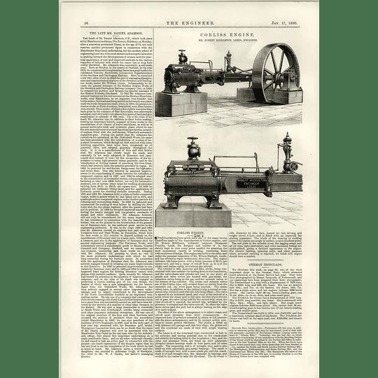 1890 Robert Middleton Leeds Corliss Engine The Late Mr Daniel Adamson