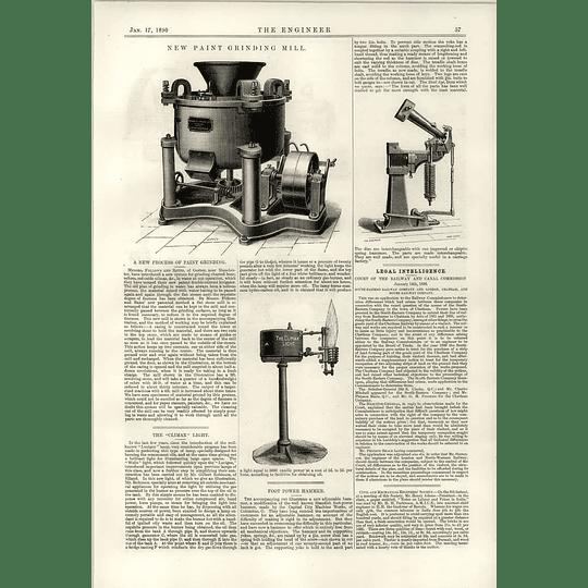 1890 Follows Bates Gorton Paint Grinding Mill Climax Light Foot Power Hammer