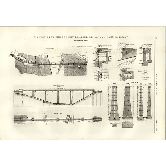 1890 Viaduct Over Souleuvre Vire St Lo Caen Railway Plans Diagrams