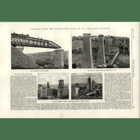 1890 Viaduct Over Souleuvre Vire St Lo Caen Railway Description Masonry Girders