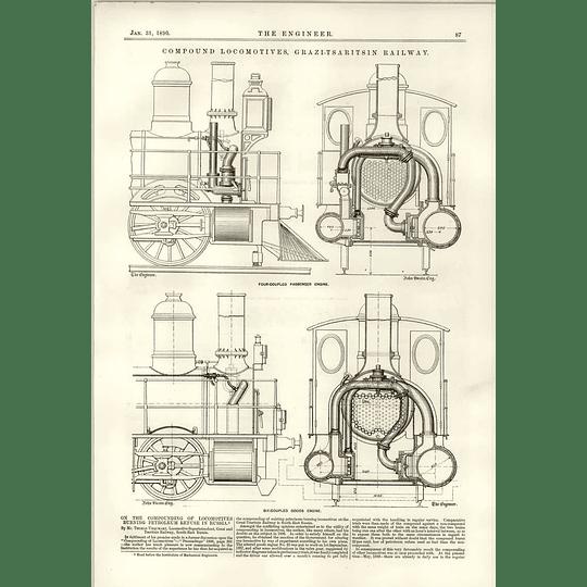1890 Compound Locomotives Grazi-tsaritsin Railway Six Coupled Engine Russia