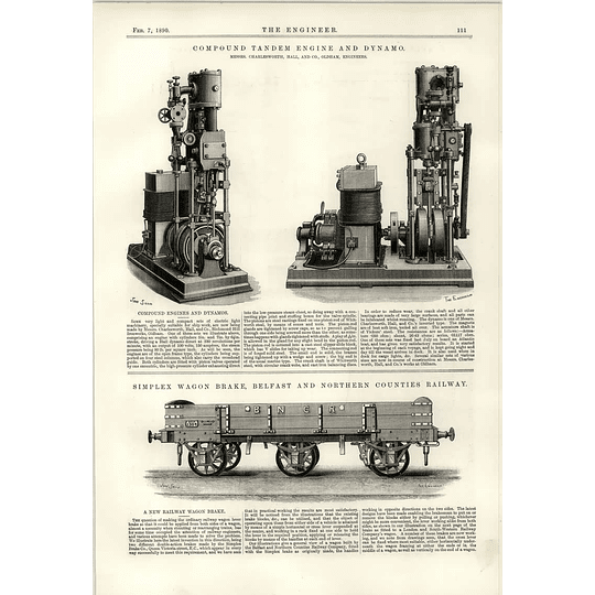 1890 Simple Wagon Brake Belfast Northern Counties Railway Tandem Charlesworth