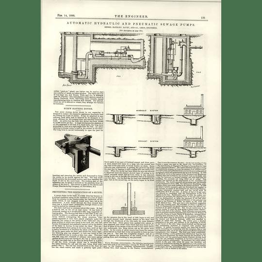 1890 Automatic Hydraulic Pneumatic Sewage Pumps Preventing Destruction Of Sluice