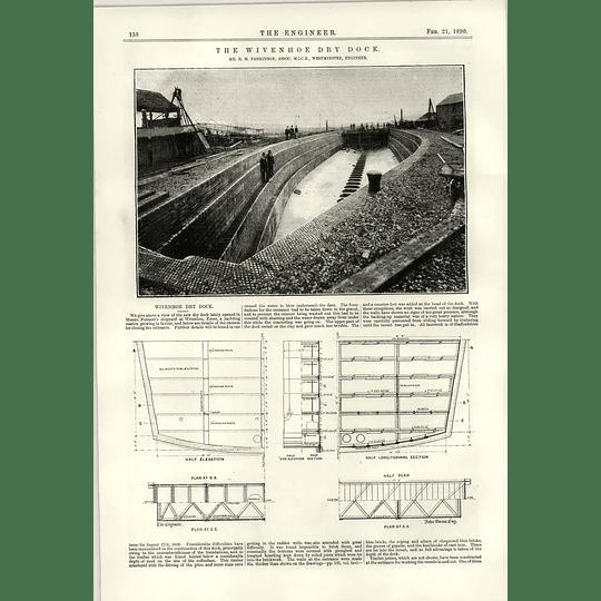 1890 The Wivenhoe Drydock Rm Parkinson Forrestt Shipyard Edinburgh Cable Tram