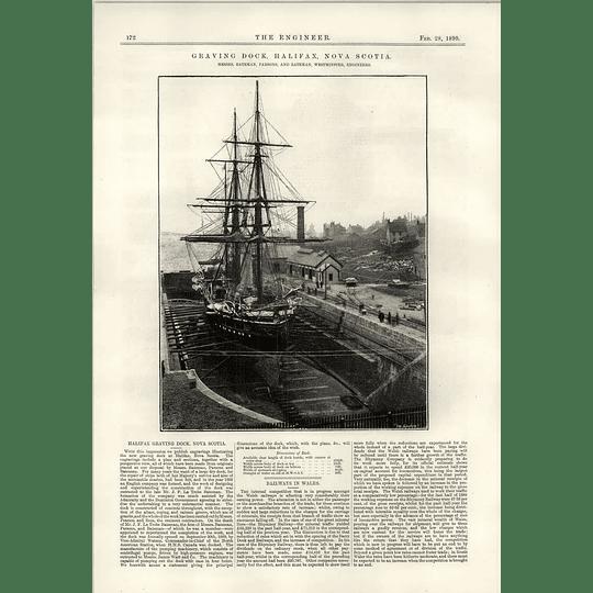 1890 Graving Dock Halifax Nova Scotia Three Masted Schooner