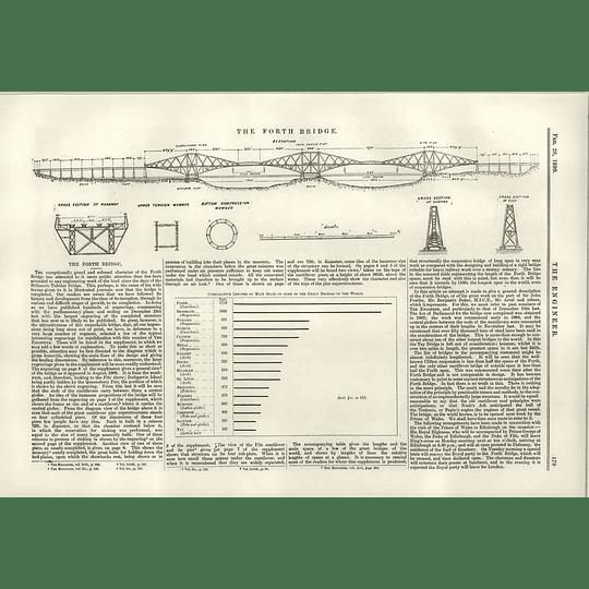1890 The Forth Bridge Diagram Dimensions Spans