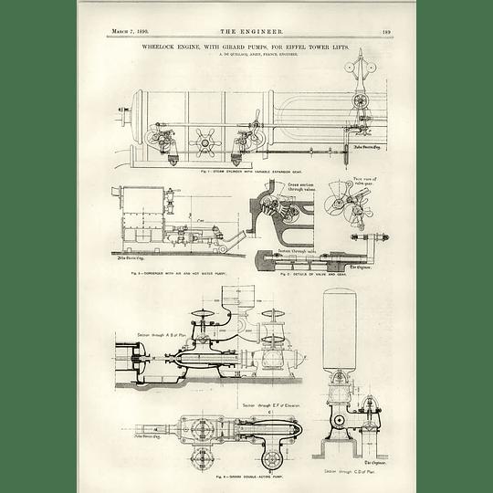 1890 Wheelock Engine Girard Pumps For Eiffel Tower Lifts De Quillacq
