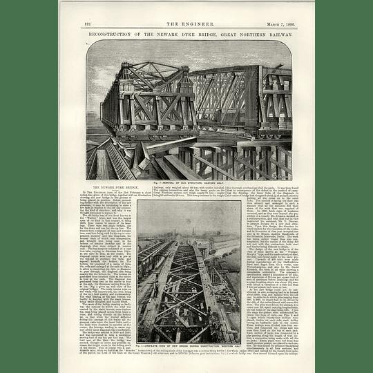 1890 Reconstruction Of The Newark Dyke Bridge Description Illustration