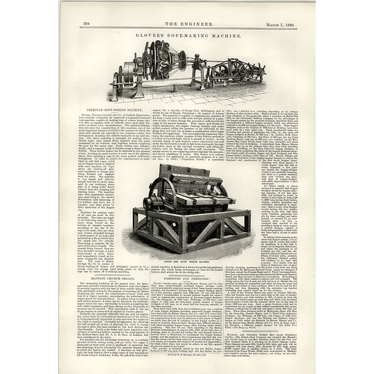 1890 Glover Rope Making Salford Daves Okes Organ Blower Dredgers And Dredging