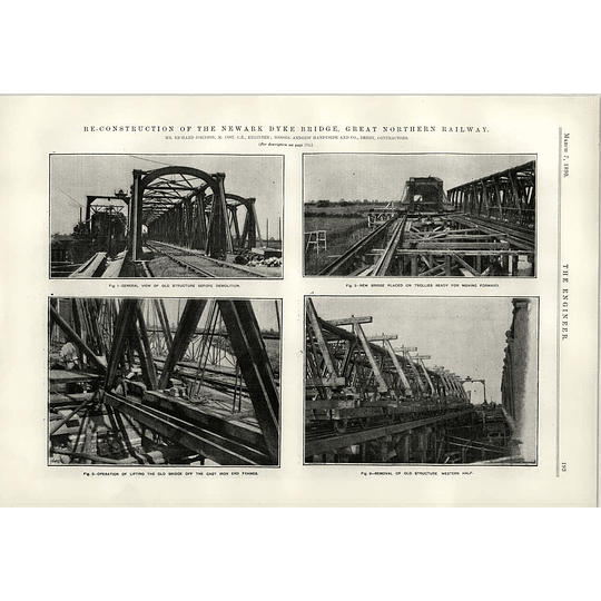 1890 Reconstruction Of The Newark Dyke Bridge Old Structure Before Demolition