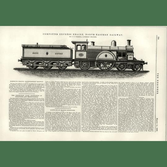 1890 North-eastern Railway Compound Express Engine Tw Worsdell
