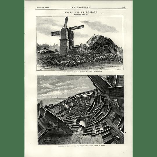 1890 Boiler Explosion Scothern Flour Mill Newcastle Wherry Damage