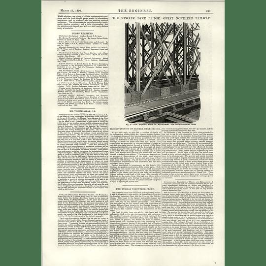 1890 Adjustment Counter Braced Bars Newark Dyke Bridge Russian Volunteer Fleet