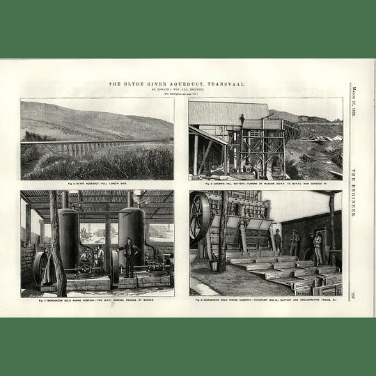 1890 The Blyde River Aqueduct Transvaal Morgenzon Goldmining Company Engines