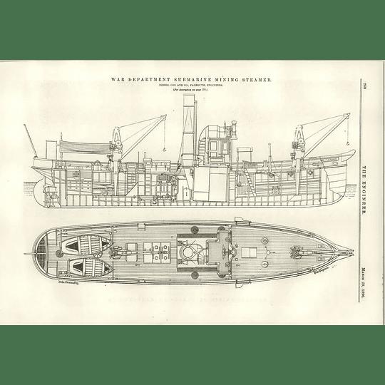 1890 Submarine Mining Steamer Cox Falmouth War Department