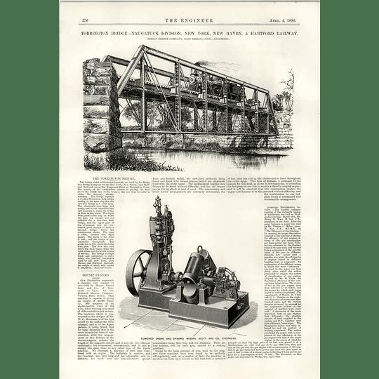 1890 Torrington Bridge Naugutuck Hartford Railway Scott Dynamo