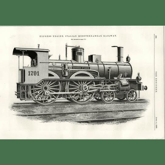 1890 Giovanna D'arco Express Locomotive Italian Mediterranean Railway