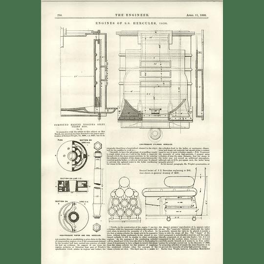 1890 Marine Engine Ss Hercules In 1830 Low-pressure Cylinders