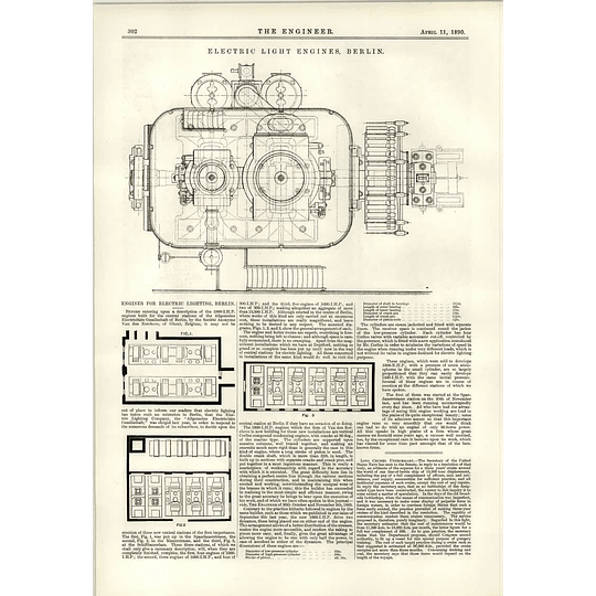 1890 Engines For Electric Lighting Berlin Details Diagrams