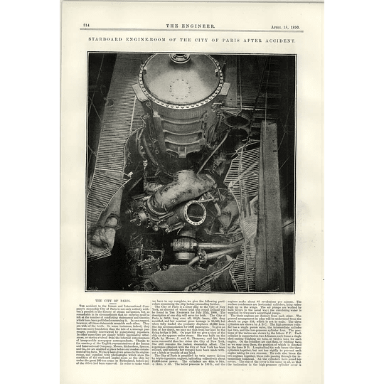 1890 Starboard Engine Room Of The Steamship City Of Paris After Accident I