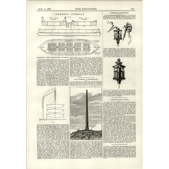 1890 Chambers Collapsible Lifeboat Anderson's Lubricator Chimney Halsbrucke
