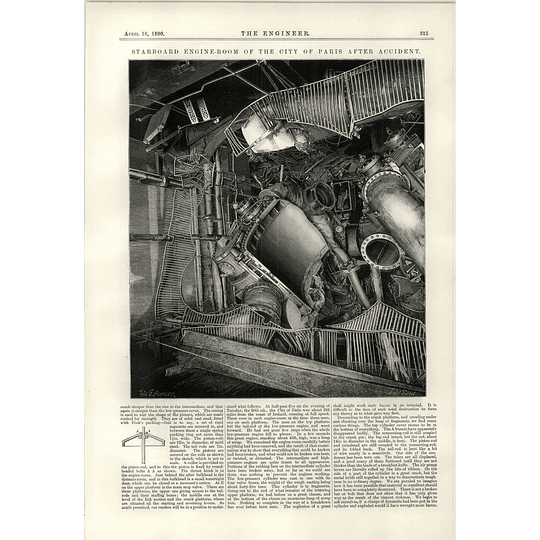 1890 Starboard Engine Room Of The Steamship City Of Paris After Accident Ii