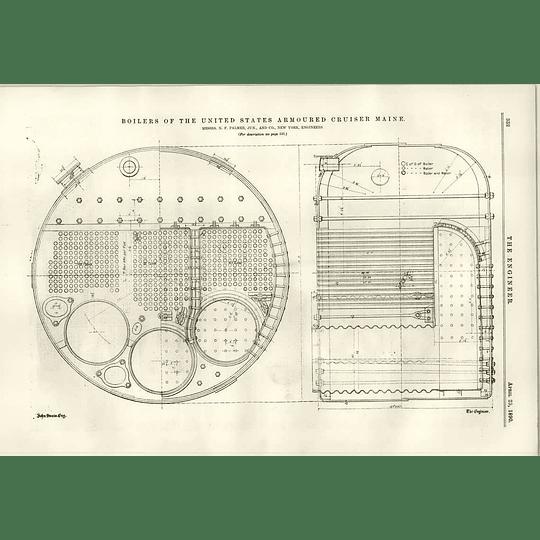 1890 United States Armoured Cruiser Maine Boilers New York